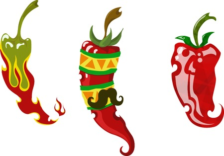 capsaicin: a set of three different vector chili peppers