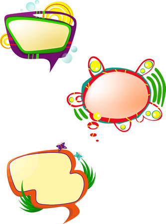 set form: a set of three colorful fancy form speak bubbles