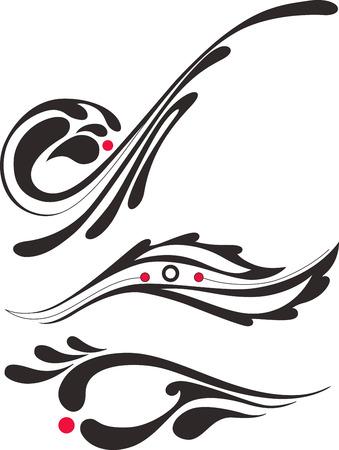 a set of three vector pinstripe ornaments Illustration