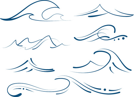 set of different simple stylized pinstripe ocean waves