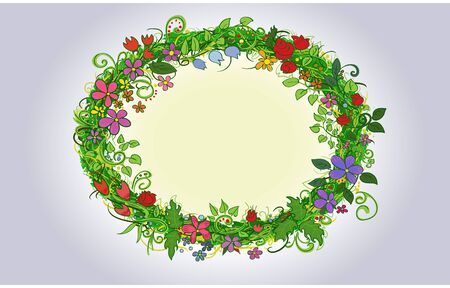 primitive: oval frame of primitive flowers and herbs