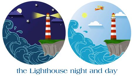 lighthouse at night: flat vector lighthouse night and day round emblems