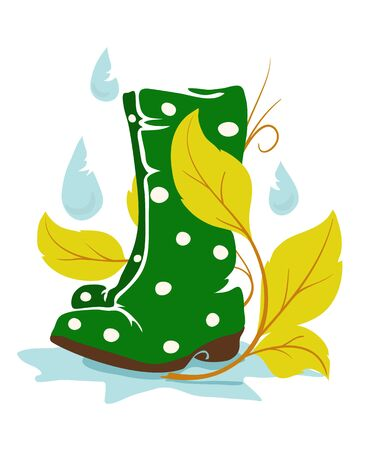 welly: a gum rainboot with floral branch and raindrops