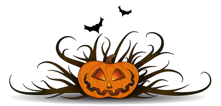 tattered: halloween pumpkin with the bats  and a tattered thickets