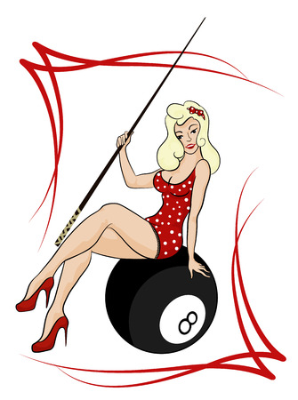 girl with a cue in pinup retro style vector
