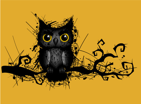 crooked: background with grungy owl on a crooked branch Illustration
