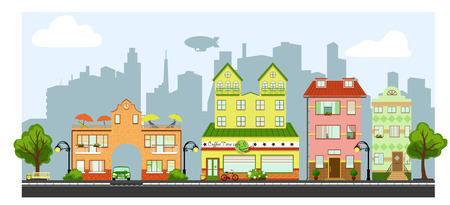 cityscape silhouette: a cute street view with cityscape on a background