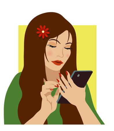 woman on phone: young woman pushing the mobile phone screen