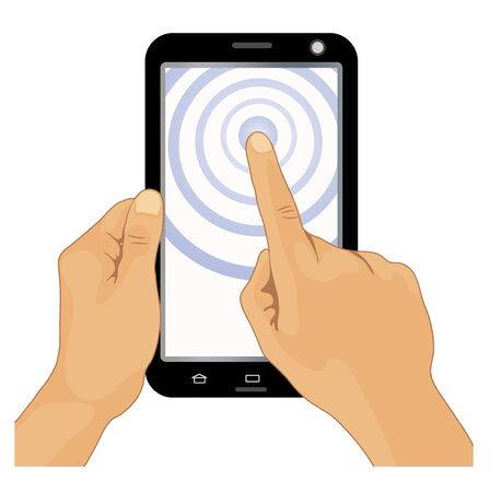 using smartphone: hands holding black smartphone, touching the screen. Using tablet pc Illustration