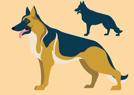 German Shepherd dog breed and its silhouette vector illustration