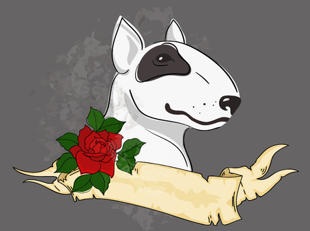 Vector Illustration of Pit Bull Terrier bulldog with tattoo styled ribbon and rose