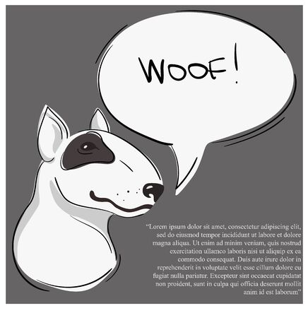 Vector Illustration of Pit Bull Terrier bulldog with speak bubble and sample text below it Vectores