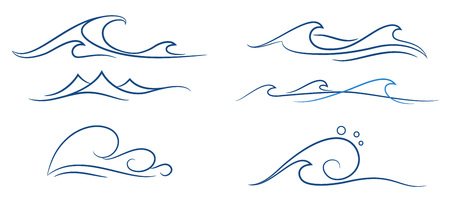 a set of different simple stylized pinstripe ocean waves