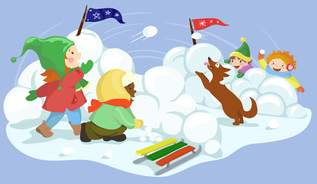 fight: Winter fun. Children playing snowball happily. Snow ball fight vector illustration