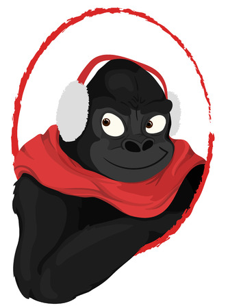 earmuff: winter gorilla with earmuff colored cartoon style