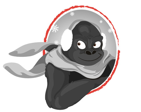 earmuff: winter gorilla with earmuff noir cartoon style Illustration