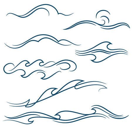 pinstripe: set of different simple stylized pinstripe ocean waves