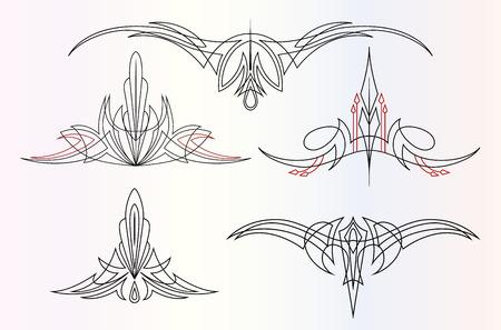 ein Satz von 5 verschiedenen grafischen Ornamenten Nadelstreifen Vektorgrafik