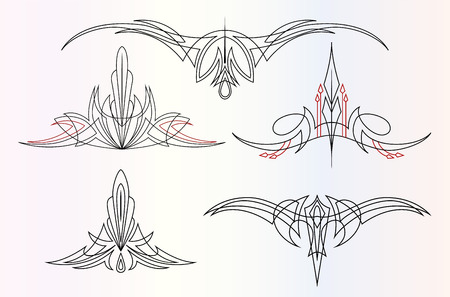 a set of 5 different pinstripe graphic ornaments Illustration