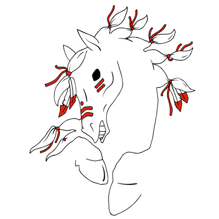 bronco: bronco horse simple black and red lineart vector Illustration