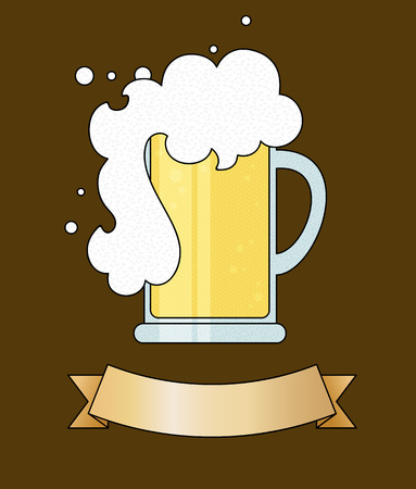 frothy: cartoon drawing glass mug of beer with a frothy head