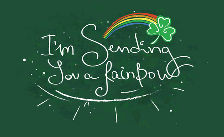 felicitation: handwritten card for st. patricks day with words of felicitations sending you a rainbow