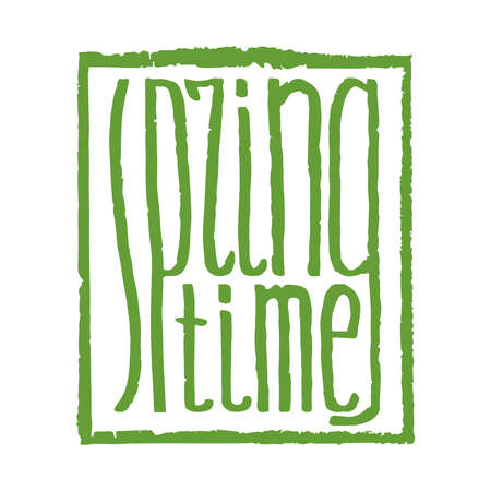 spring time: spring time hand lettering quote in square frame
