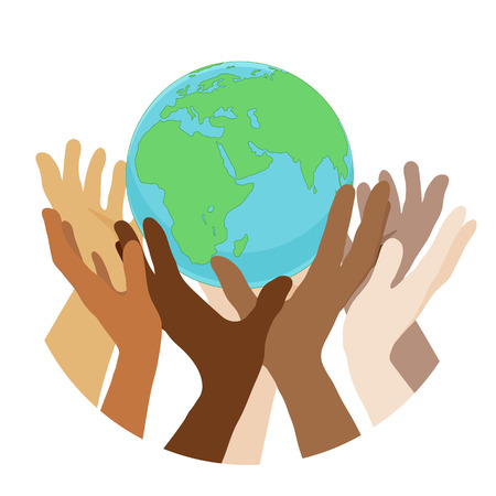 hands with earth, people of the world holding the globe, flat sticker, poster, etc
