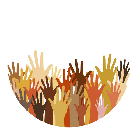 different race hands, cultural and ethnic diversity concept, flat poster Vectores