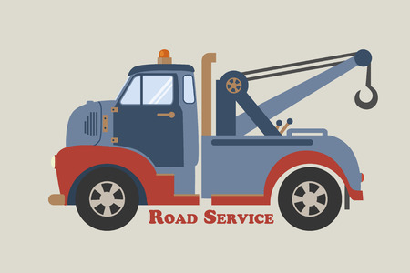 roadside assistance: retro illustration of a vintage tow wrecker pickup truck viewed from the side. Flat design roadside assistance vehicle, side view