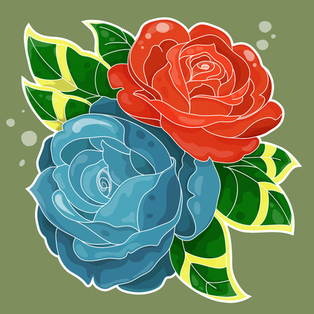 oldschool: bouquet of two roses with leaves simple colored in old-school style Illustration