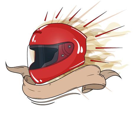 moto helmet integral with text ribbon