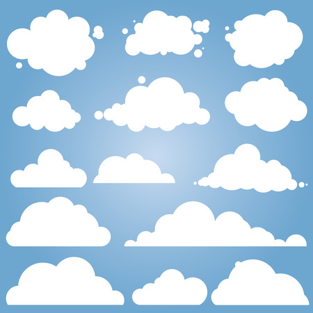 푸른 하늘, 다른 구름에 대 한 설정합니다. 클라우드 아이콘, 구름 모양, 라벨, 기호. 평면 그래픽 요소 벡터 (일러스트)