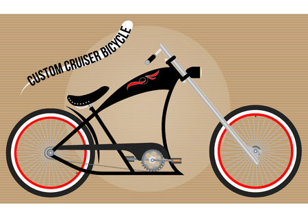 extremal: custom chopper cruiser bicycle, color vector illustration