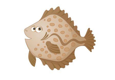 plaice: cartoon flatfish, hand drawn color illustration