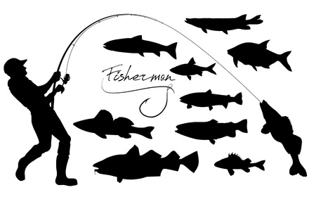 vector silhouettes of fisherman with the spinning and various fish