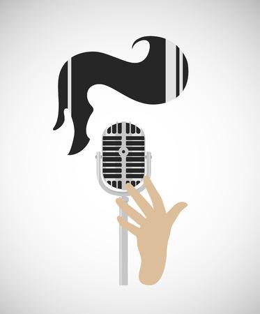 rockabilly, rock'n'roll flat gestileerd banner, vintage microfoon en retro kapsel