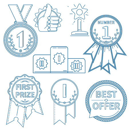 lineart: vector award icons set. lineart, outline isolated objects, one color