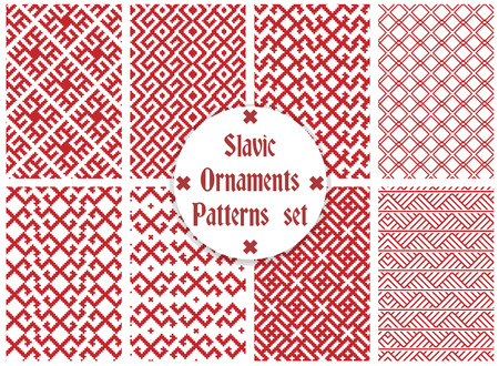 rushnik: slavic ornaments seamless patterns set, monochrome on transparent background, traditional ethnic ornamental pattern Illustration