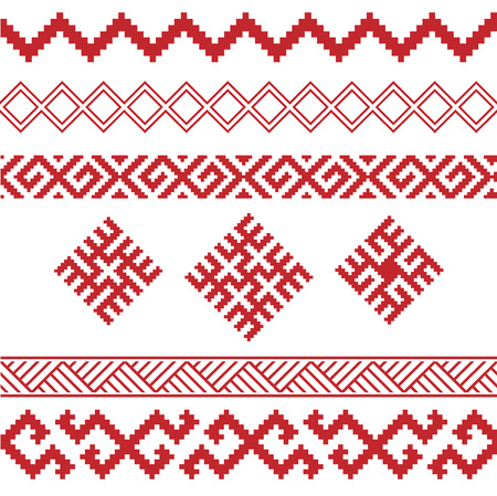 rushnik: slavic ornaments patterns set, monochrome on transparent background, traditional ethnic ornamental elements Illustration