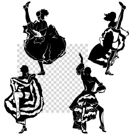 petticoat: cancan dancers silhouettes set. monochrome illustration, transparent background, isolated figures