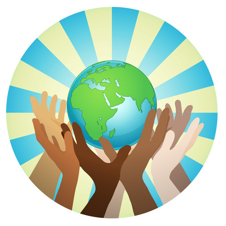 地球、世界、フラット ベクトル ステッカー、ポスターなどを開催、世界の人々 と手