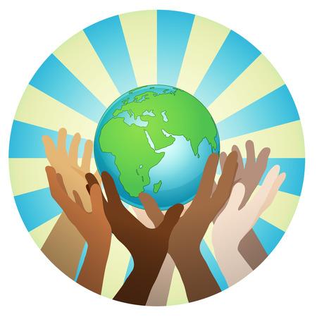 manos con la tierra, la gente del mundo que sostienen el globo, etiqueta engomada del vector plana, carteles, etc. Ilustración de vector