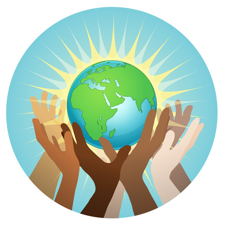 hands with earth, people of the world holding the globe, vector sticker, poster, etc Vettoriali