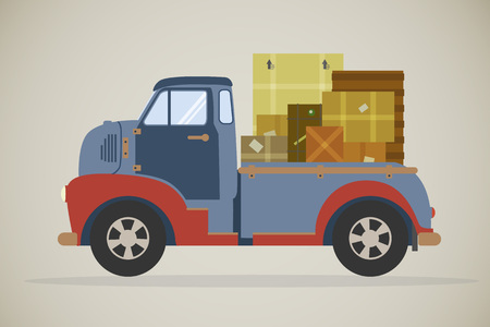 commercial vehicle: retro illustration of a vintage delivery truck with parcels, viewed from the side. Flat design commercial vehicle, side view