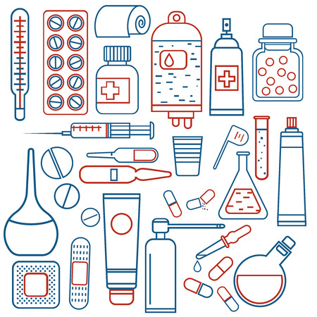 salve: simple medical objects set in two colors, drugs and pills icons, thin design