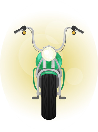 handlebar: color illustration of motocycle, front view, bike with crash bar, leg guard