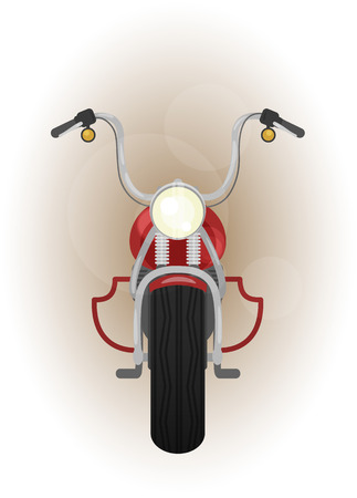 facing: color illustration of motocycle, front view, bike with crash bar, leg guard