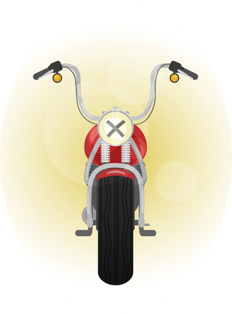 front view: color illustration of retro motorcycle, front view
