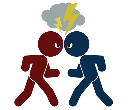 adversary: vector schematic image of confrontation. two arguing people, isolated objects, color illustration